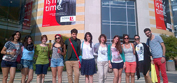 Group of visiting Greek students in front of Vari Hall