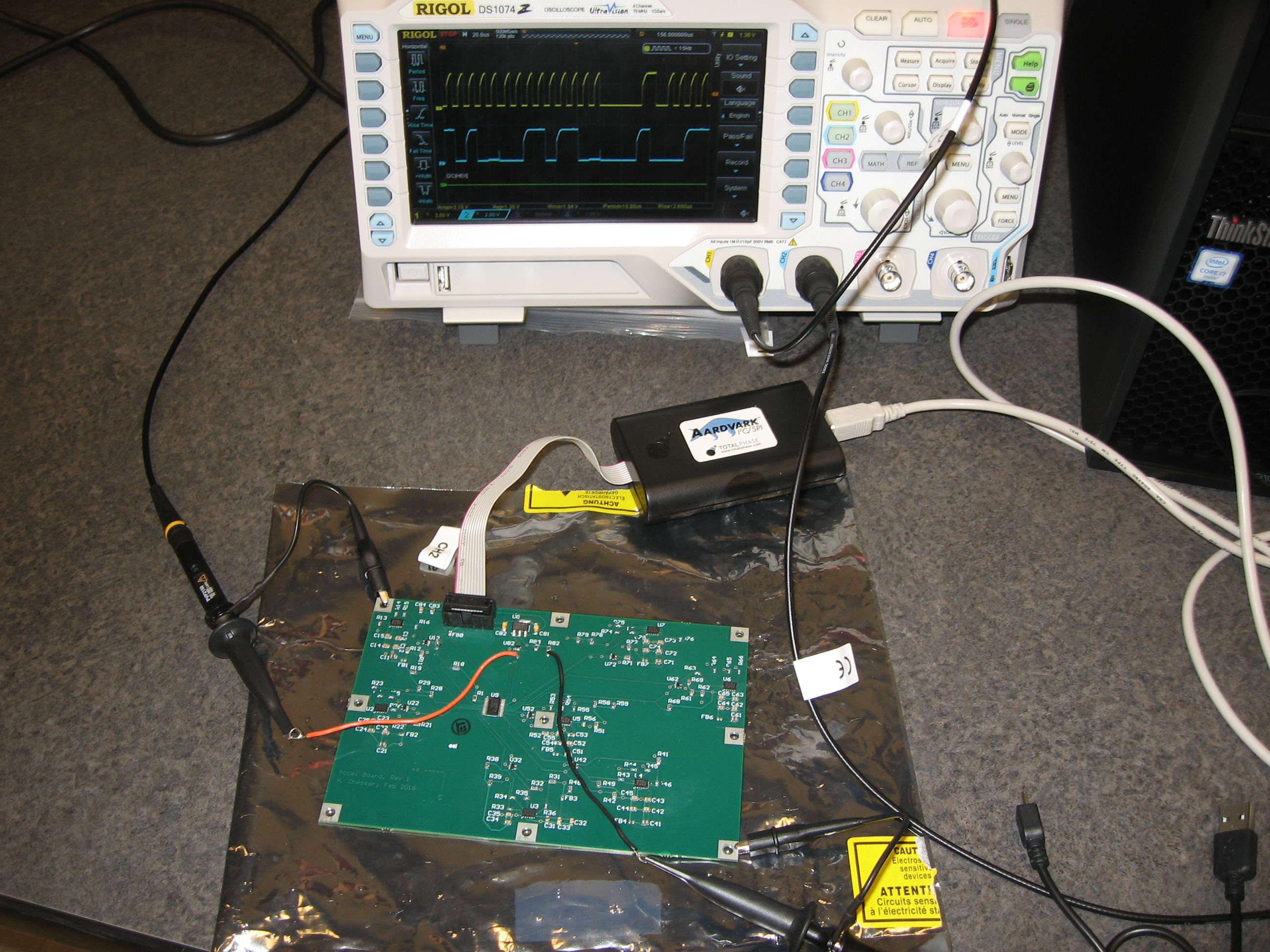 Hugh Chesser Peng Links And Information Pics Photos Electronic Circuit Board Showing Wires Microchips The Experiment Has Students Talking To Both A Multiplexer 7 Accelerometer Chips On This Second Is Shown In Figure Below