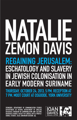 poster for Natalie Zemon Davis talk (all info in text of post)