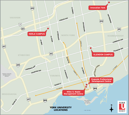 Map of York University locations in Toronto