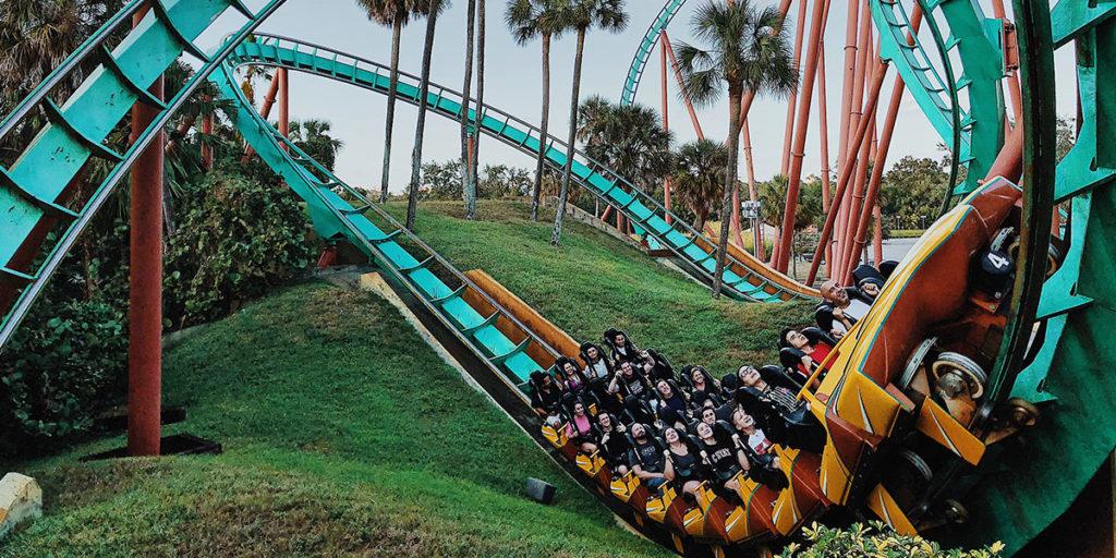 People enjoying a rollercoaster