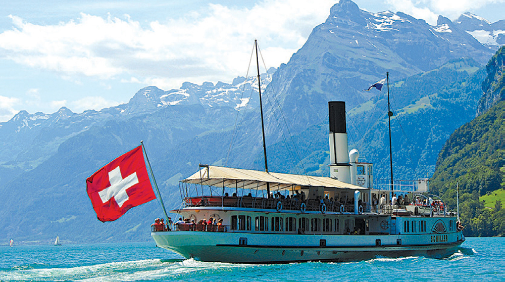 Boat tour in Europe along the Rhine River