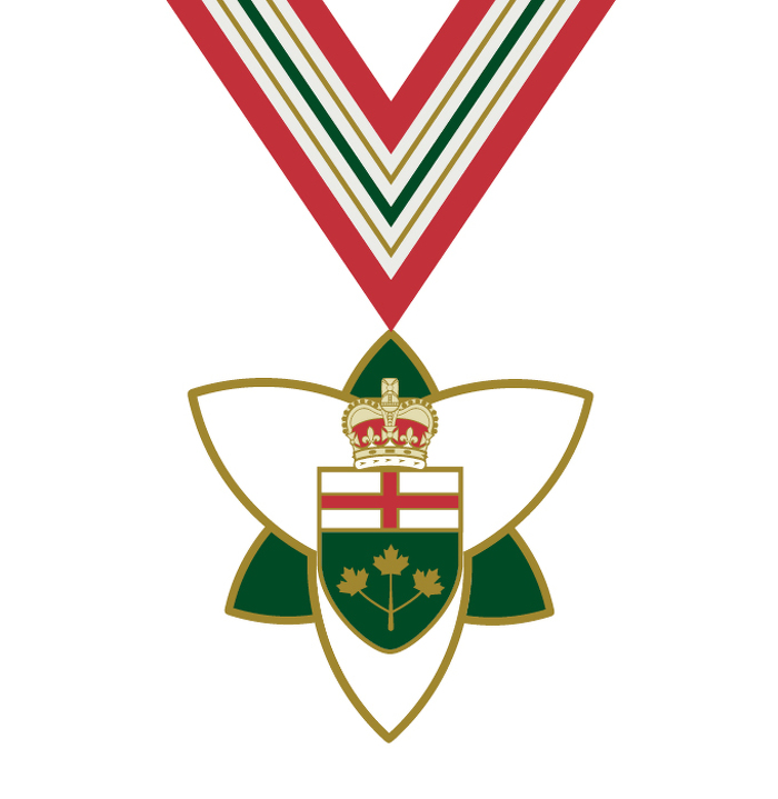 The Order of Ontario insignia. The main badge consists of a gold medallion in the form of a stylized trillium, the official provincial flower. The obverse is white enamel with gold edging, bearing at its centre the escutcheon of the arms of Ontario, all surmounted by a St. Edward's Crown symbolizing the Canadian monarch's role as the fount of honour. The order's ribbon is patterned with vertical stripes in red, green, white, and gold, reflecting the colours within the provincial coat of arms.