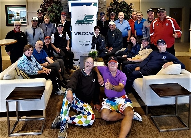Stong College Annual Alumni and Friends Golf Tournament - group photo in club house