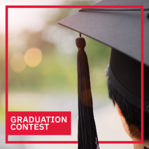 GRADUATION CONTEST. Photo of a graduate wearing a mortar board taken from behind their head.