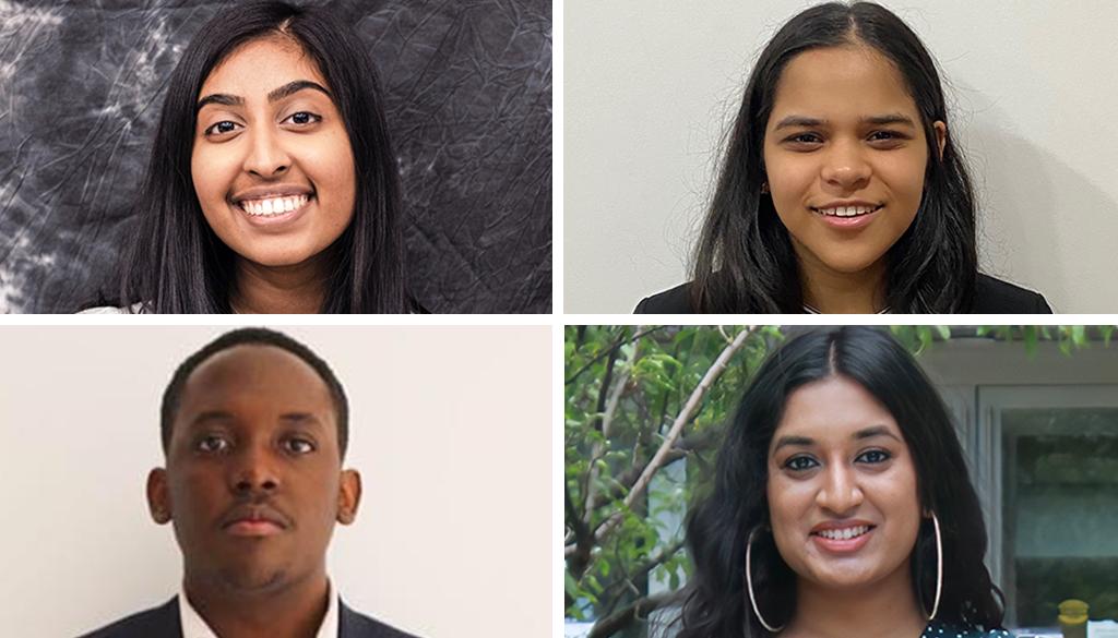 2021 Alumni Awards and Scholarships recipients: Anjelica Ramsewack, Ishi Madan, Moboluwajidide Joseph and Meena Shanmuganathan