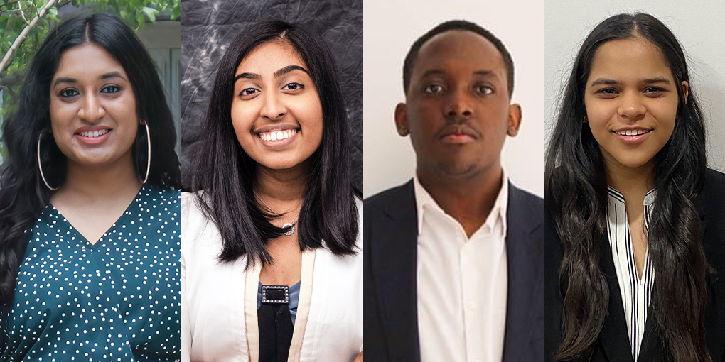 2021 Alumni Awards and Scholarships recipients: Anjelica Ramsewack, Ishi Madan, Meena Shanmuganathan and Moboluwajidide Joseph
