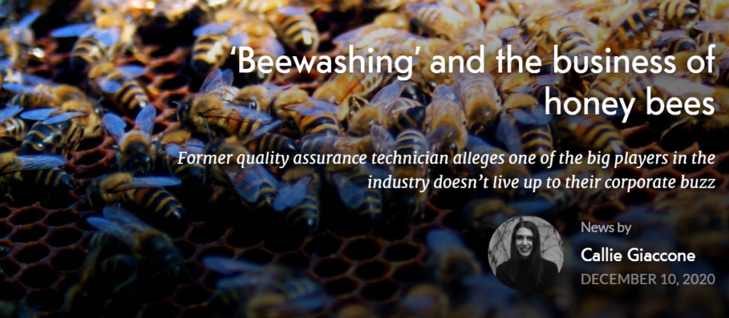 """Read the Ricochet article """"Beewashing and the business of honey bees"""""""