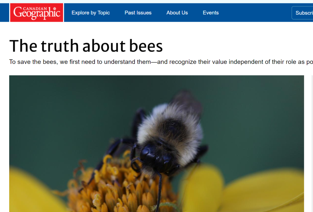 """Read the Canadian Geographic article """"The Truth about bees"""""""