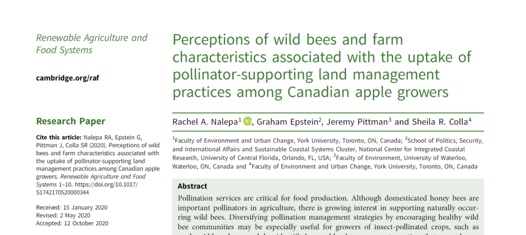 "Read ""perceptions of wild bees and farm characteristics with the uptake of pollinator-supporting land management practices among Canadian apple growers"""