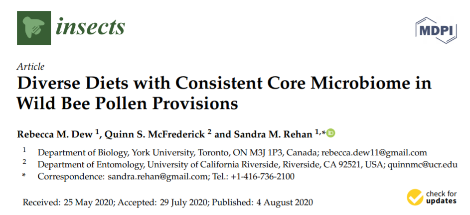 "Read ""diverse diets with consistent core microbiomes in wild bee pollen provisions"""