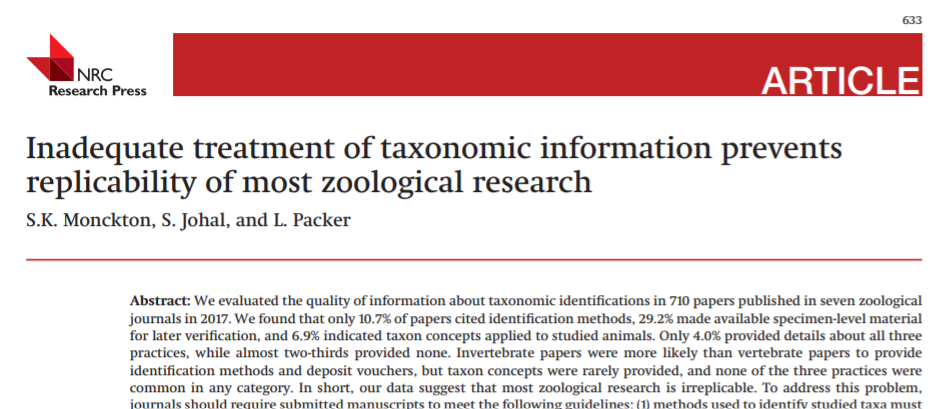 "Read ""inadequate treatments of taxonomic information prevents replicability of most zoological research"""