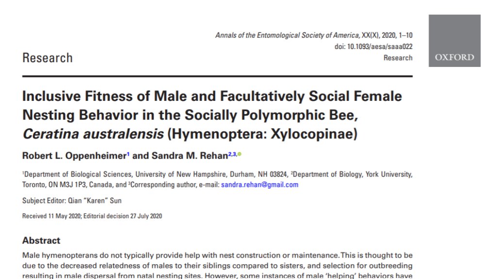 "Read ""inclusive fitness of male and facultatively social female nesting behavior in the socially polymorphic bee, Ceratina australensis (Hymenoptera: Xylocopinae)"