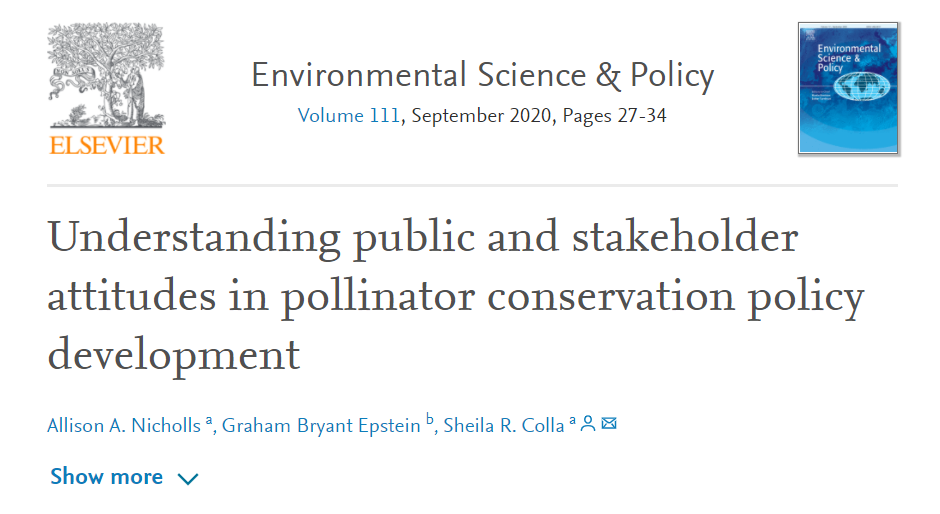 "Read ""understanding public and stakeholder attitudes in pollinator conservation policy development"""