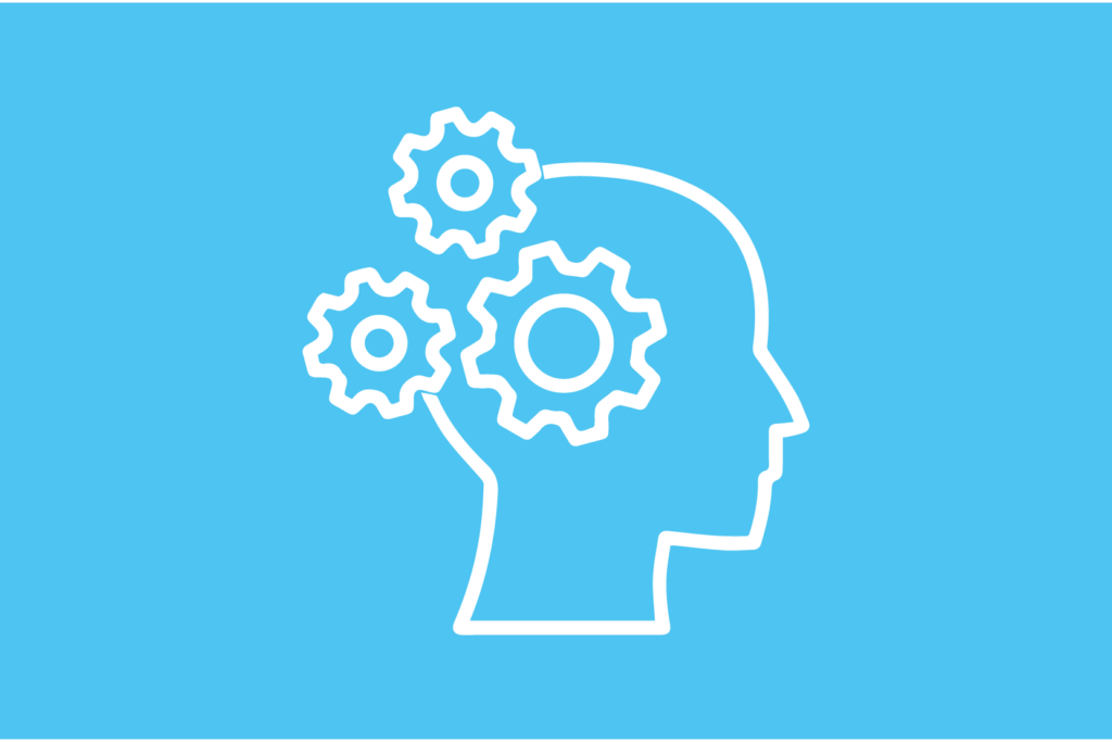 human head icon with gears overlapping
