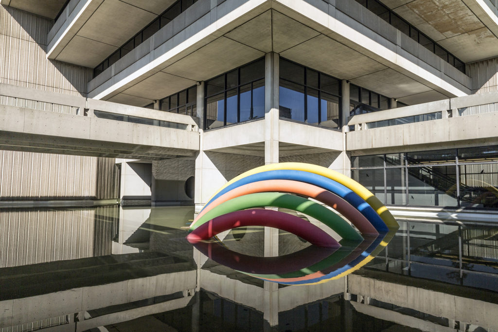 A rainbow-coloured sculpture outside of Scott Library.