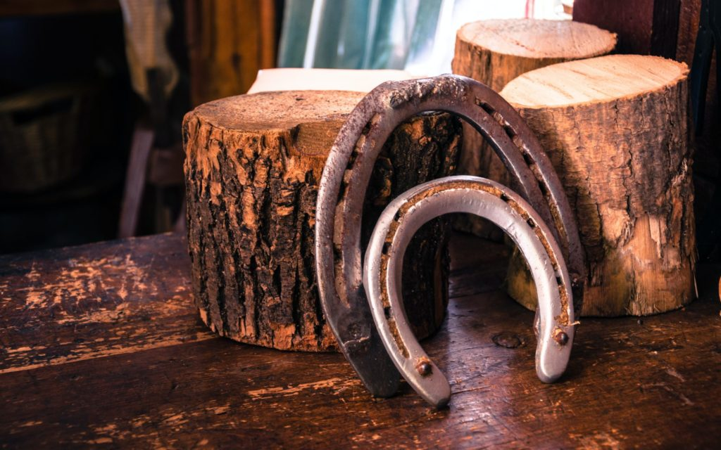 Closeup up two grey horseshoes resting against cross sections of trees