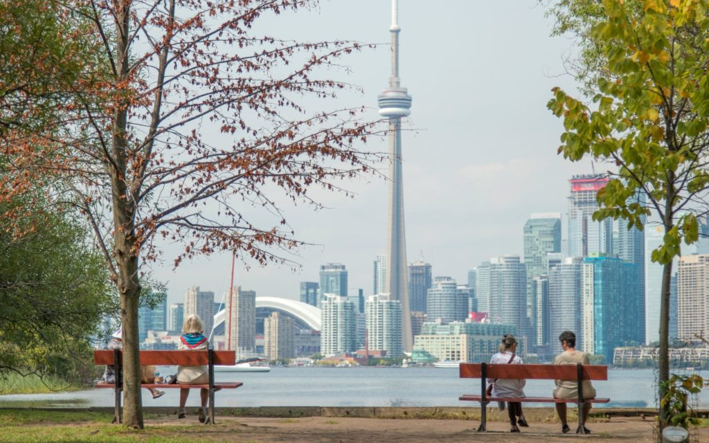 Four people sit on park benches across cityscape