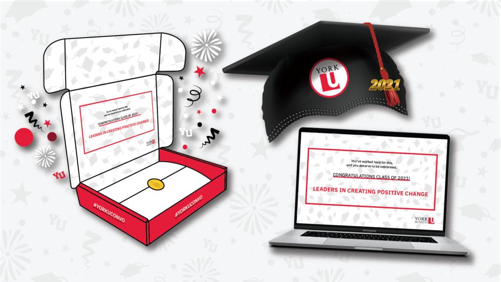 Convocation box, grad cap and laptop with congratulatory message