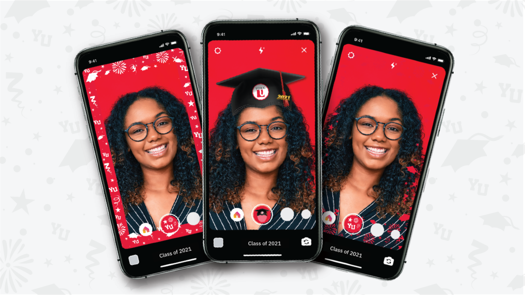 Imagery of woman on iphone screen using grad cap and photo frames