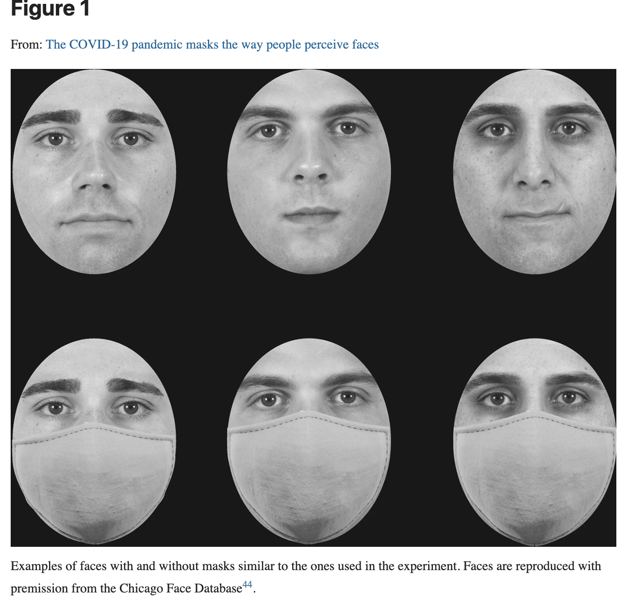 Faces are shown which were similar to ones used in experiment. The three faces at top have different facial expressions. The three faces at bottom are same faces, but with masks on.