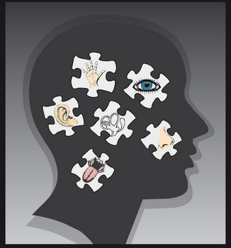 Silhouette of person's face, with different parts of the body as puzzles on top.