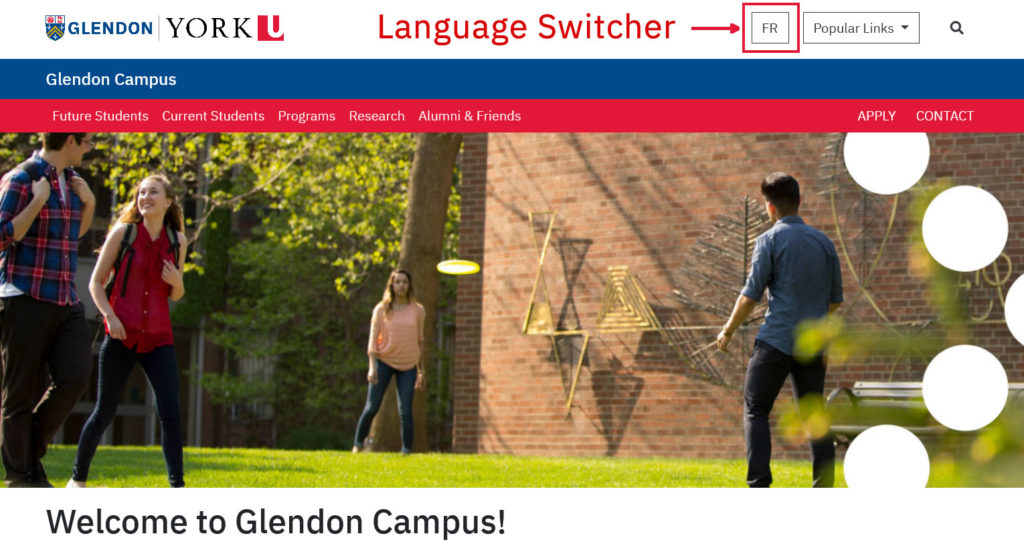 language switcher in desktop view