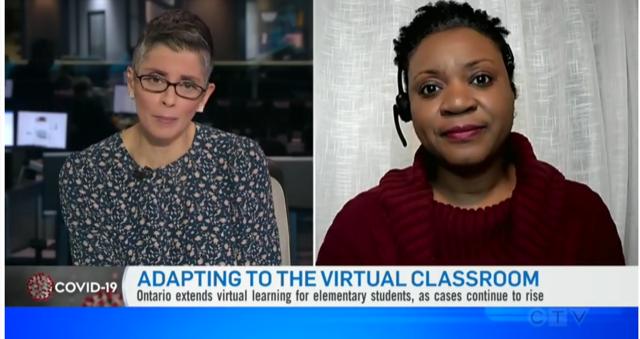 image of CTV reporter Angie Seth  sitting in the CTV studio (left) beside a split screen image of York University Associate Professor Sarah Barrett (right)