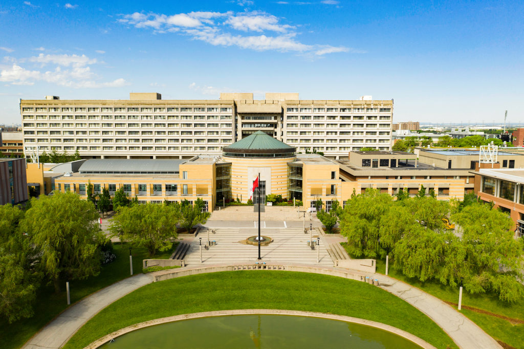 Vari Hall drone shot in the summer with clear blue skies