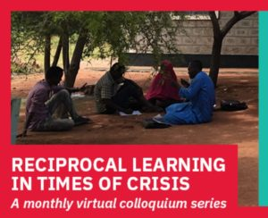 group of 3 male and 1 female student sitting under a tree outside of the Education Centre in Dadaab Kenya. the words Reciprocal Learning in Times of Crisis: A monthly virtual colloquium series is under the image