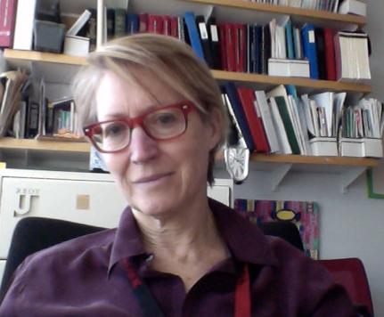 Professor Heather Lotherington sitting in her office