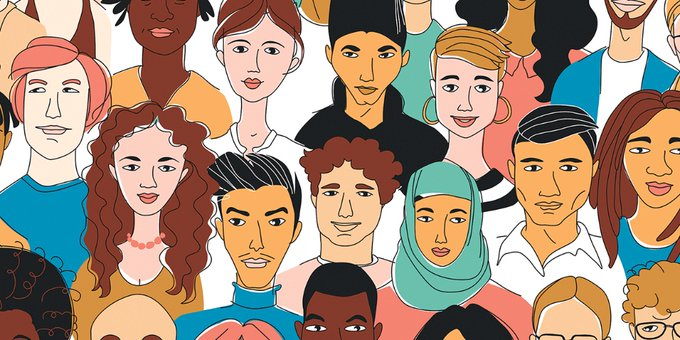caricature drawing of people of different cultures and ethnicities