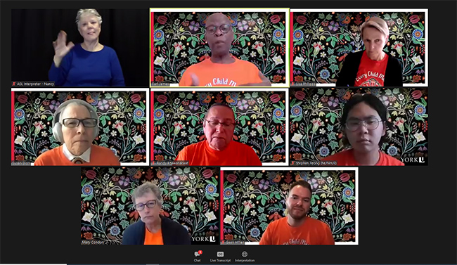 Image of virtual panel of speakers for York University's National Day for Truth and Reconciliation. Top row, from left, ASL Interpreter, Carl James, Lisa Philipps. Middle row, from left, Susan Dion, Randy Pitawanakwat, Stephen Teong. Bottom row, from left, Mary Condon, Sean Hillier