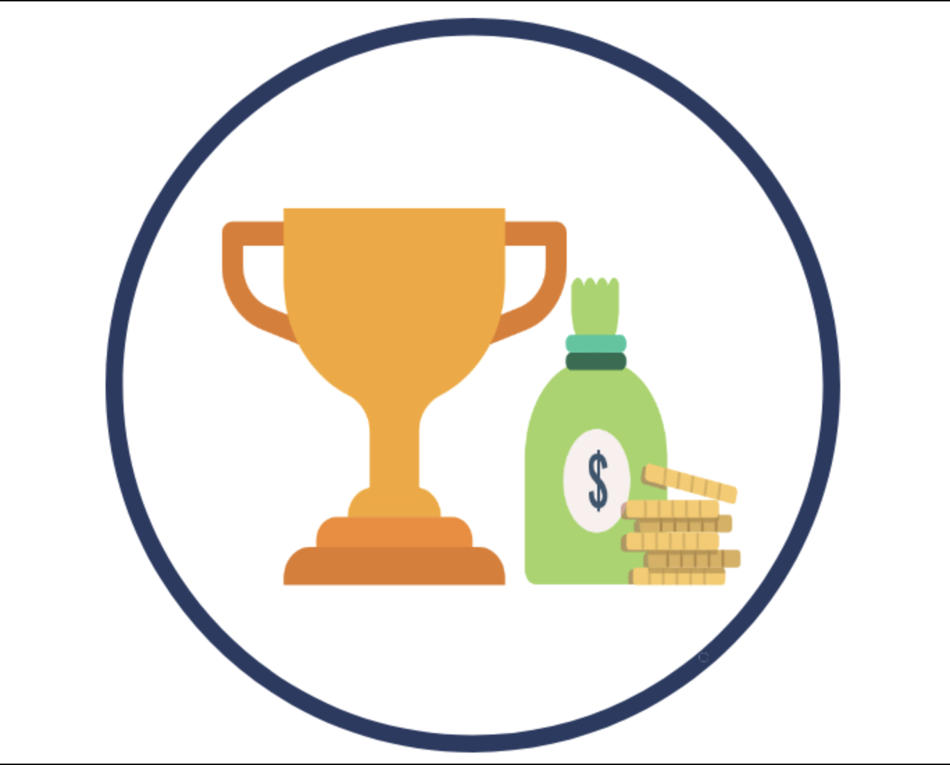 Graphic depicting a trophy and a bag of money, representing scholarship awards