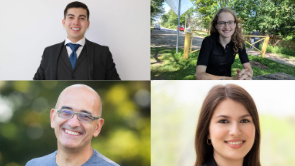 Four pictures with Dael, Alina, Hassan and Magda to represent Glendon Award winners