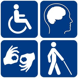 composite image of four white disability icons on a dark blue background