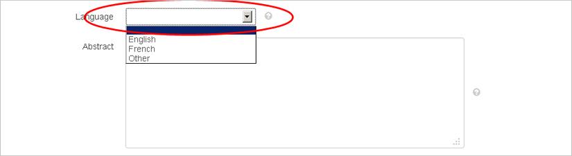 screenshot highlighting the language drop-down menu