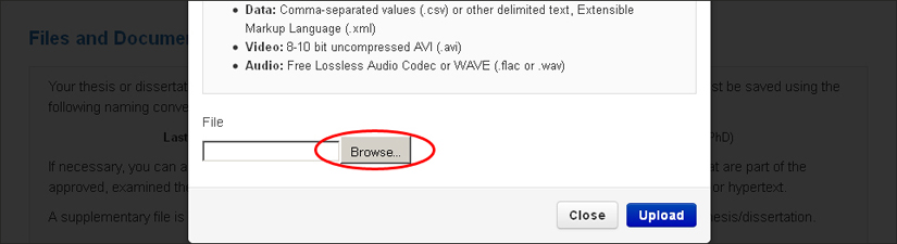 screenshot highlighting the upload supplementary files browse button