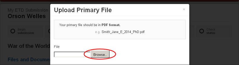 screenshot highlighting the upload primary file browse button
