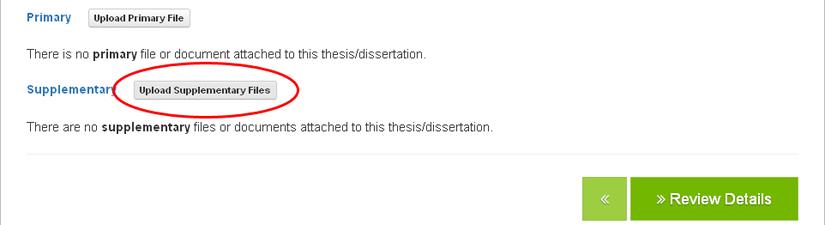 screenshot highlighting the Upload Supplementary Files button