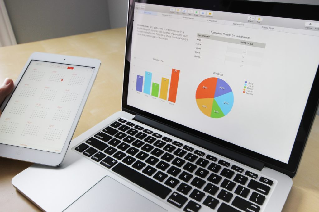 laptop with chart graphic, and tablet with calendar