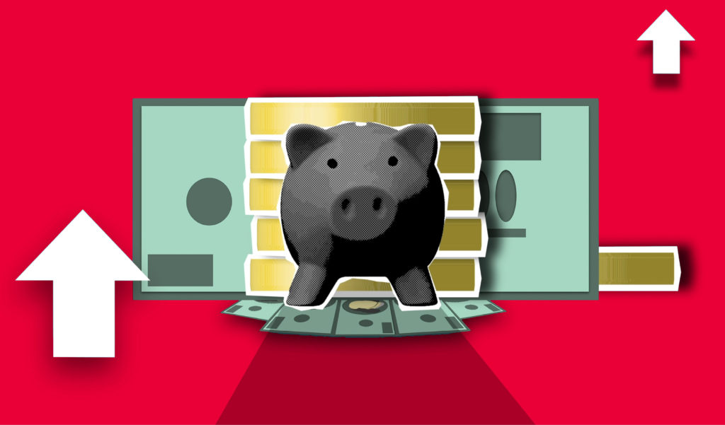 image of piggy-bank with red background