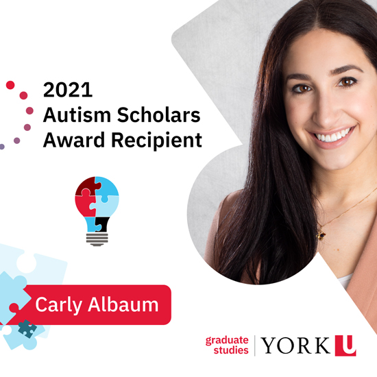 photo of Carly Albaum promoting her receipt of the 2021 Autism Scholars Award