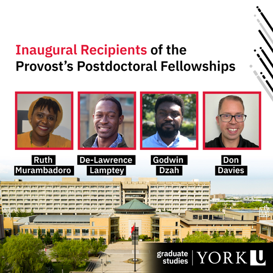 composite image celebrating the four inaugural recipients of the Provost's Postdoctoral Fellowships
