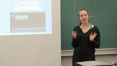 Student giving a presentation in class