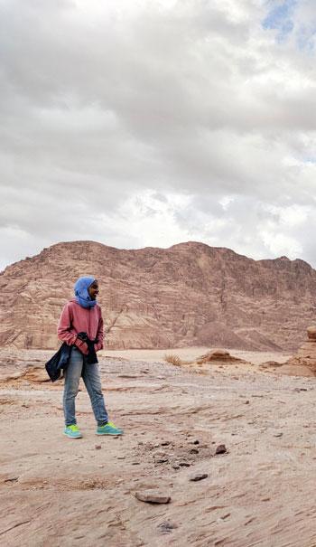 Global Health student standing in Jordan on her practicum
