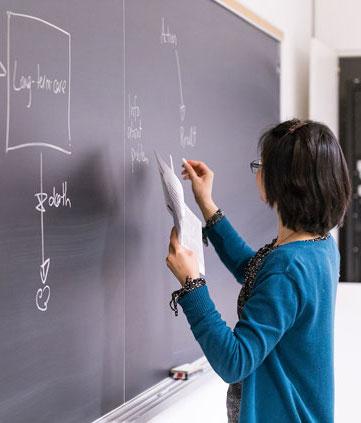 Professor writing on a chalkboard