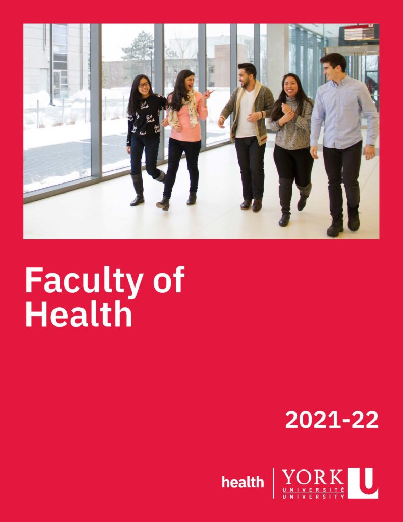 Cover of the 2021 to 2022 Faculty of Health viewbook