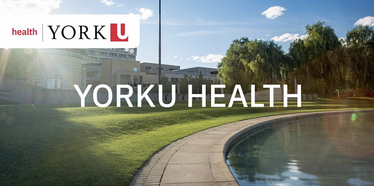 Pond in front of Vari Hall at the York University Keele Campus with the words 'YorkU Health' ontop of image