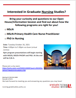 School of Nursing Graduate Programs Open House